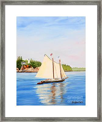 Castine Harbor And Dice Head Light Framed Print by Stella Sherman