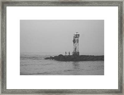 Framed Print featuring the photograph Casting At The Inlet Jetty by Robert Banach