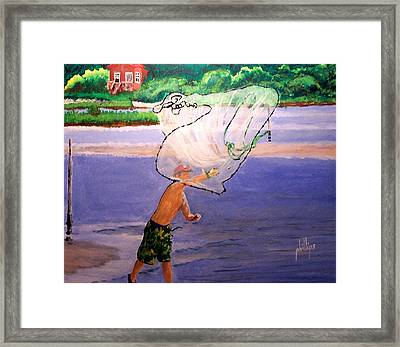 Framed Print featuring the painting Casting For Bait by Jim Phillips