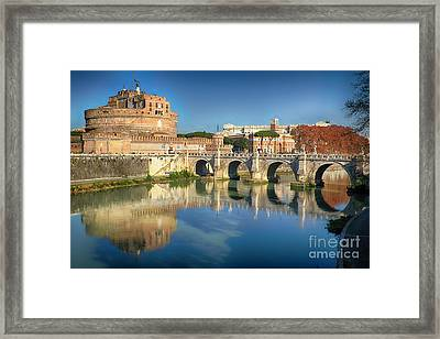 Castle And Bridge Reflections In The Tiber River Framed Print by George Oze