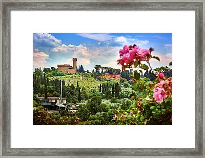 Castle And Roses In Firenze Framed Print
