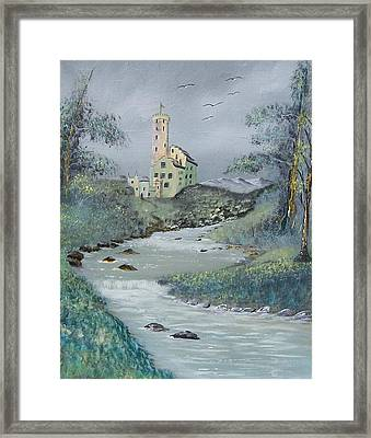 Castle By Stream Framed Print by Tony Rodriguez