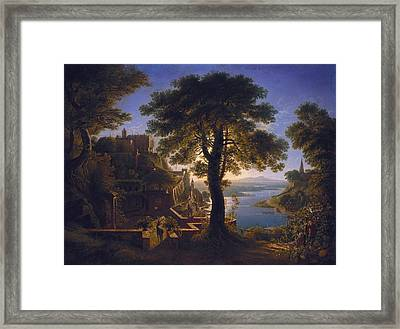 Castle By The River - Karl Friedrich Schinkel Framed Print by Celestial Images