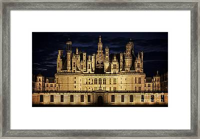 Framed Print featuring the photograph Castle Chambord Illuminated by Heiko Koehrer-Wagner