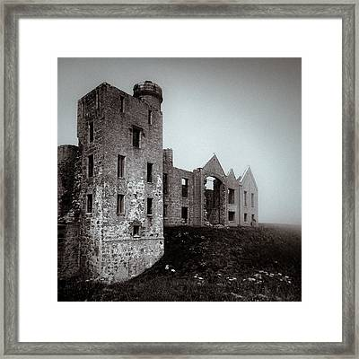 Slains In The Fog Framed Print by Dave Bowman