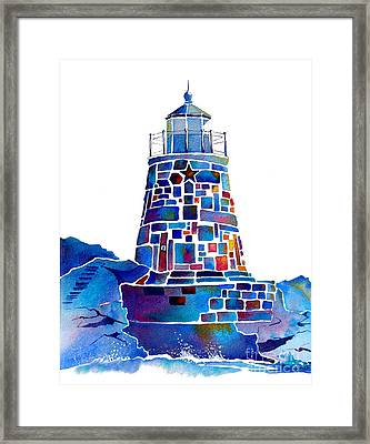 Castle Hill Newport Lighthouse Framed Print by Jo Lynch