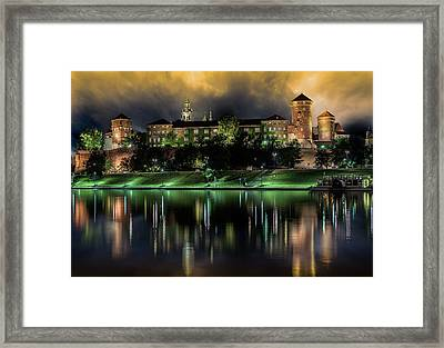 Castle In Krakow, Called Wavel, On Night Shot Framed Print by Stefano Carniccio