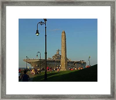 Castle Island Aircraft Carrier 2012 Boston Ma Tall Ships Monument Framed Print