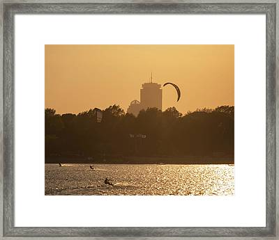 Castle Island Kite Boarded Boston Ma Sunset Prudential Framed Print by Toby McGuire