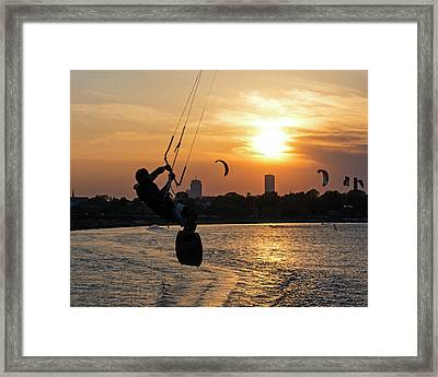 Castle Island Kite Boarder Boston Ma Sunset Framed Print by Toby McGuire