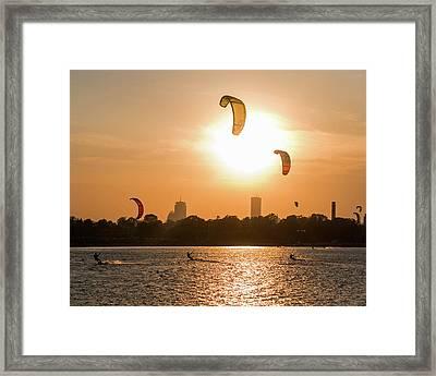Castle Island Kite Boarders Boston Ma Sunset Framed Print by Toby McGuire