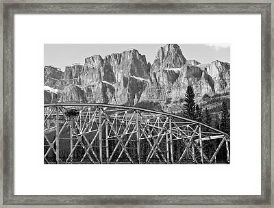 Castle Mountain Bridge In Black And White- By Carol Cottrell Framed Print