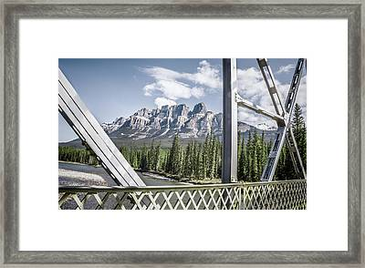 Castle Mountain Bridge View- By Carol Cottrell Framed Print