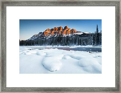 Castle Mountain In Winter Framed Print