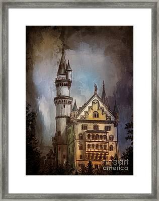 Framed Print featuring the painting Castle Neuschwanstein by Andrzej Szczerski