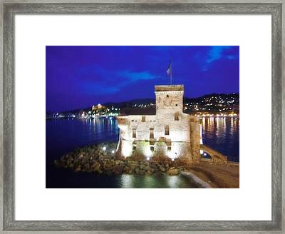 Castle Of Rapallo At Night Framed Print