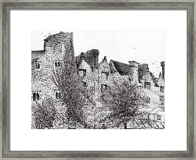 Castle Ruins At Hay On Wye Framed Print by Vincent Alexander Booth