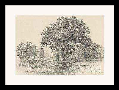 New England Barns Drawings Framed Prints