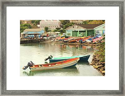 Framed Print featuring the photograph Castries Harbor Waterfront by Roupen  Baker