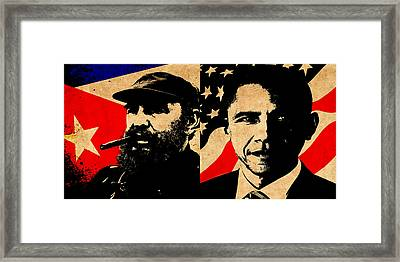 Castro And Obama Framed Print by Andrew Fare