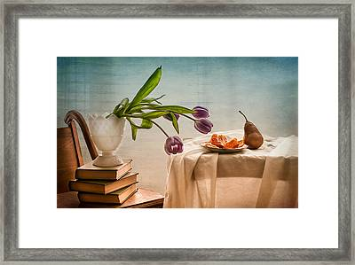 Casual Morning With Tulips, Orange And Pear Framed Print by Maggie Terlecki