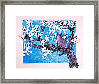 Cat Among The Cherry Blossoms Framed Print by Sarah Swift