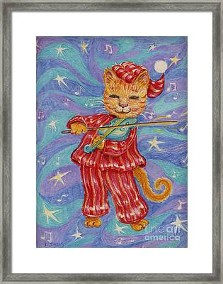Framed Print featuring the drawing Cat And A Fiddle by Dee Davis