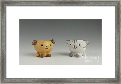 Cat And Dog Framed Print by David Bearden