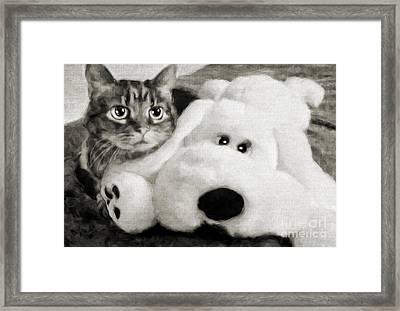 Cat And Dog In B W Framed Print