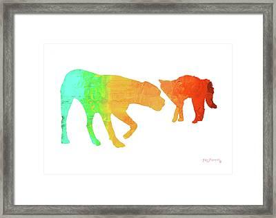 Cat And Dog Framed Print by Ken Figurski