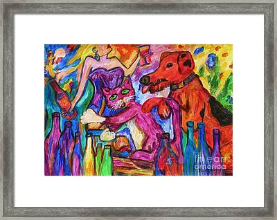 Cat And Dog Party Down Framed Print by Dianne  Connolly