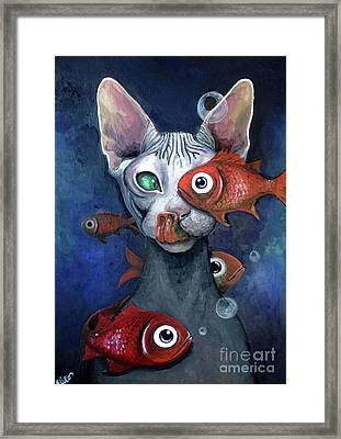 Cat And Fish Framed Print by Akiko Okabe
