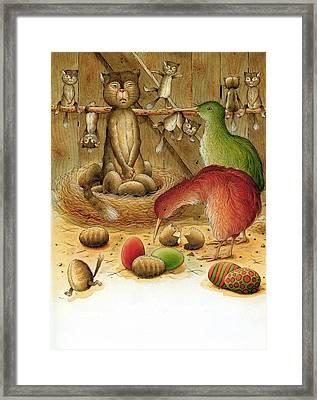 Cat And Kiwis Framed Print by Kestutis Kasparavicius