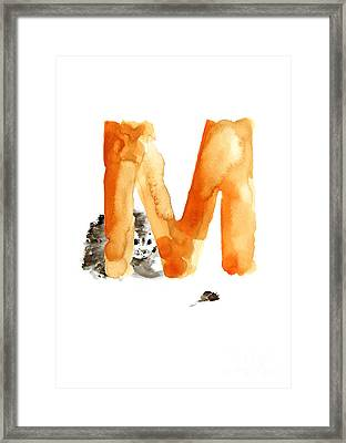 Cat And Mouse Minimalist Painting Framed Print by Joanna Szmerdt