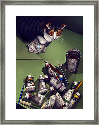 Cat And Paint Tubes Framed Print by Carol Wilson