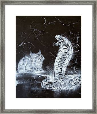 Cat And Snake Framed Print