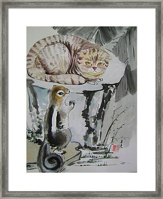 Cat And Squirrel Framed Print by Lian Zhen