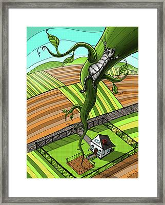 Cat And The Beanstalk Framed Print