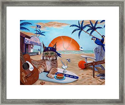 Cat-aritaville Framed Print by Jeff Conway