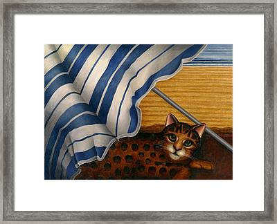 Cat At Beach Framed Print by Carol Wilson