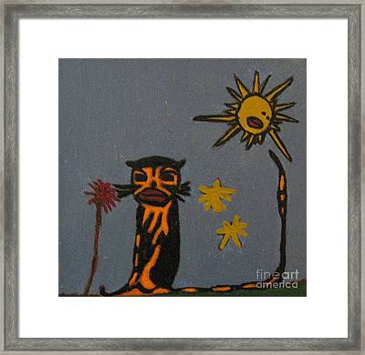 Cat Catching Rays Framed Print by Shelly Wiseberg