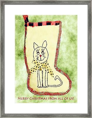 Cat Christmas Stocking Card Framed Print