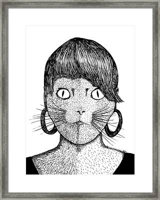 Cat Frau Framed Print