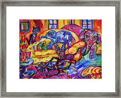 Cat Gymnastics With Elephant In The Room Framed Print