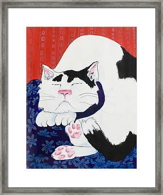 Cat I - Asleep Framed Print by Leela Payne
