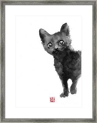 Cat Illustration Watercolor Painting Framed Print
