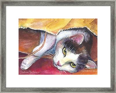 Cat In A Bag Painting Framed Print