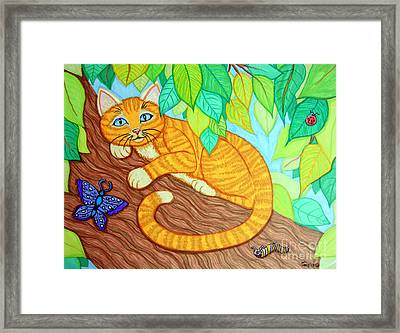 Cat In A Tree Framed Print