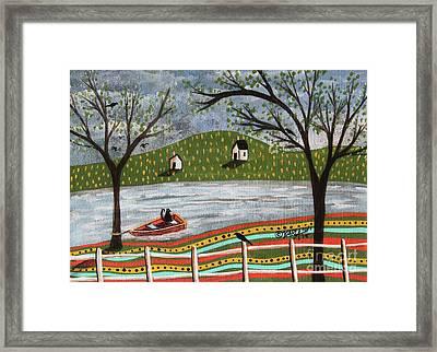 Cat In Boat 1 Framed Print by Karla Gerard