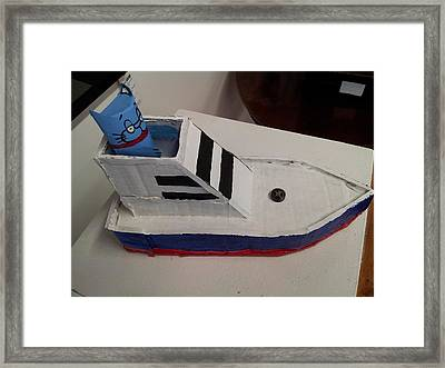 Cat In Speed Boat Framed Print by William Douglas